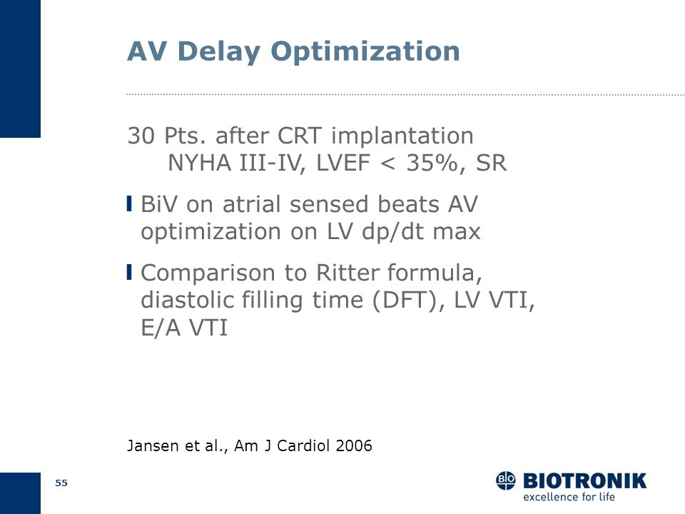 54 VTI Method Objective Identify optimal AV delay at max. VTI Procedure CW Doppler of aortic outflow tract Decrement AV delay by 20 ms down to 80 ms L