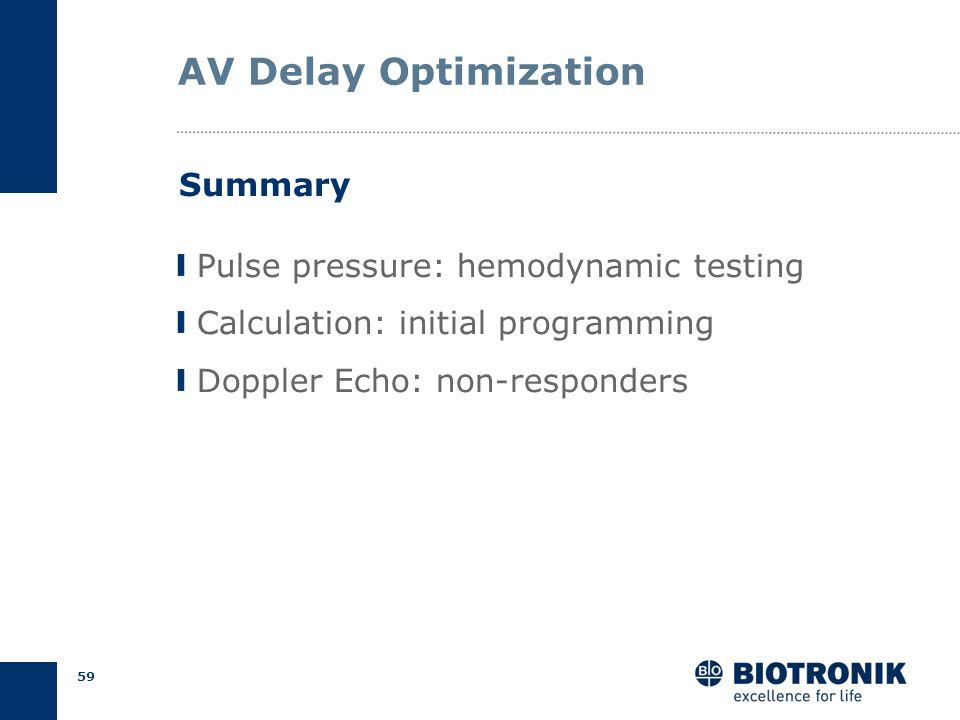 58 AV Delay Optimization Empirical Calculation Echocardiography Pulse pressure Methods