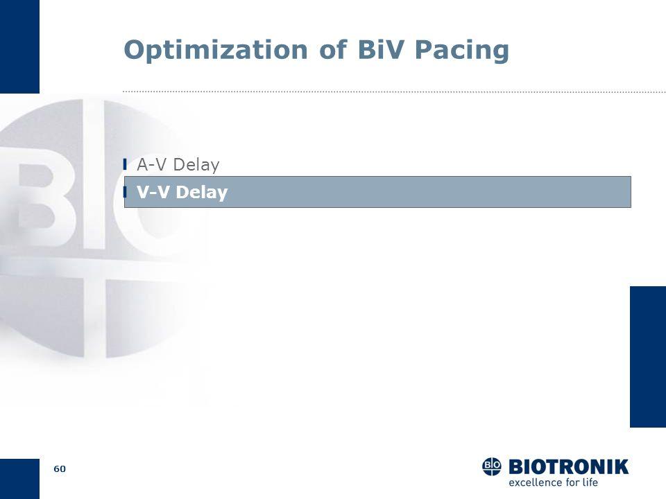 59 AV Delay Optimization Pulse pressure: hemodynamic testing Calculation: initial programming Doppler Echo: non-responders Summary