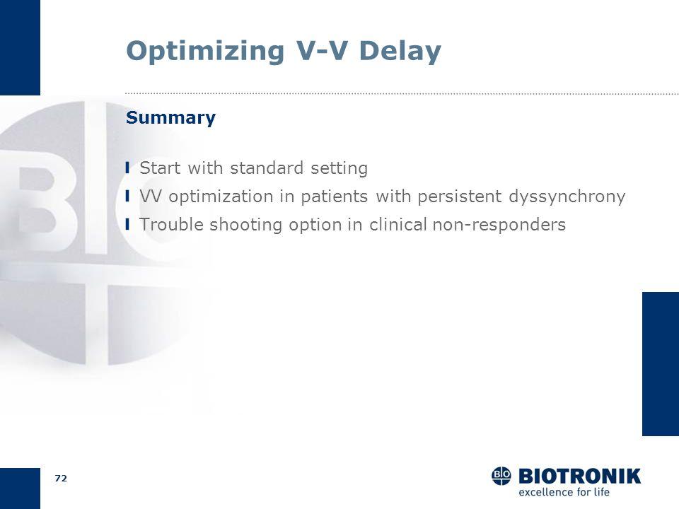 71 Optimizing BiV Pacing I V1V1 RV onlyLV onlyBiVBiV LV first