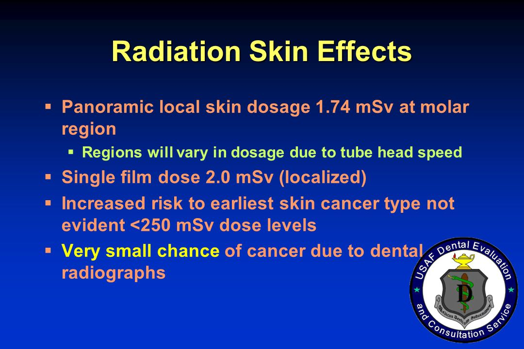 Radiation Skin Effects Panoramic local skin dosage 1.74 mSv at molar region Regions will vary in dosage due to tube head speed Single film dose 2.0 mS