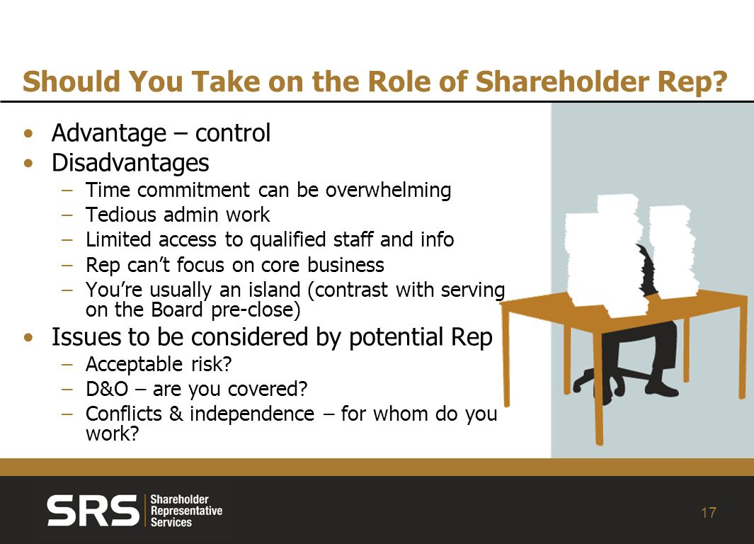 17 Should You Take on the Role of Shareholder Rep.