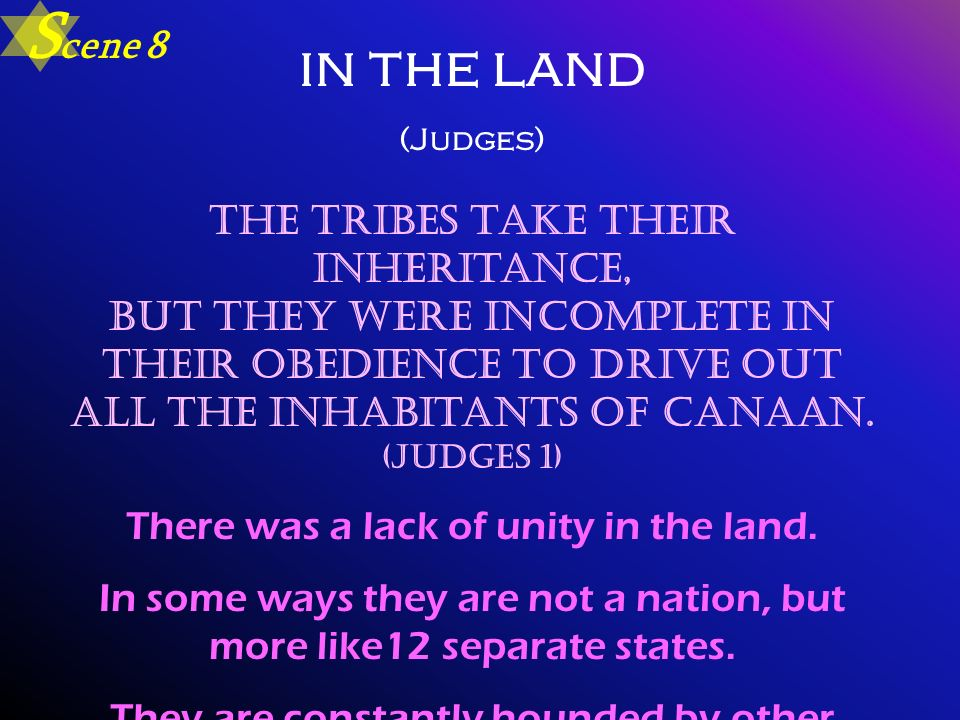 in the land (Judges) The tribes take their inheritance, but they were incomplete in their obedience to drive out all the inhabitants of Canaan. (Judge