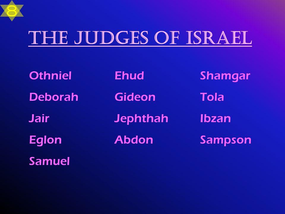 The Judges of Israel OthnielEhudShamgar Deborah GideonTola Jair Jephthah Ibzan EglonAbdonSampson Samuel 8