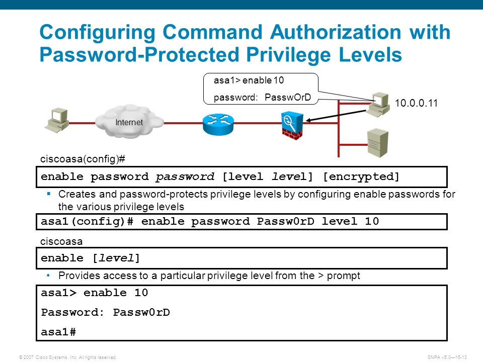 © 2007 Cisco Systems, Inc. All rights reserved.SNPA v5.016-13 Configuring Command Authorization with Password-Protected Privilege Levels Creates and p