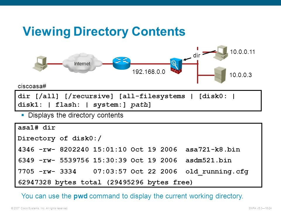 © 2007 Cisco Systems, Inc. All rights reserved.SNPA v5.016-24 Viewing Directory Contents Displays the directory contents dir [/all] [/recursive] [all-