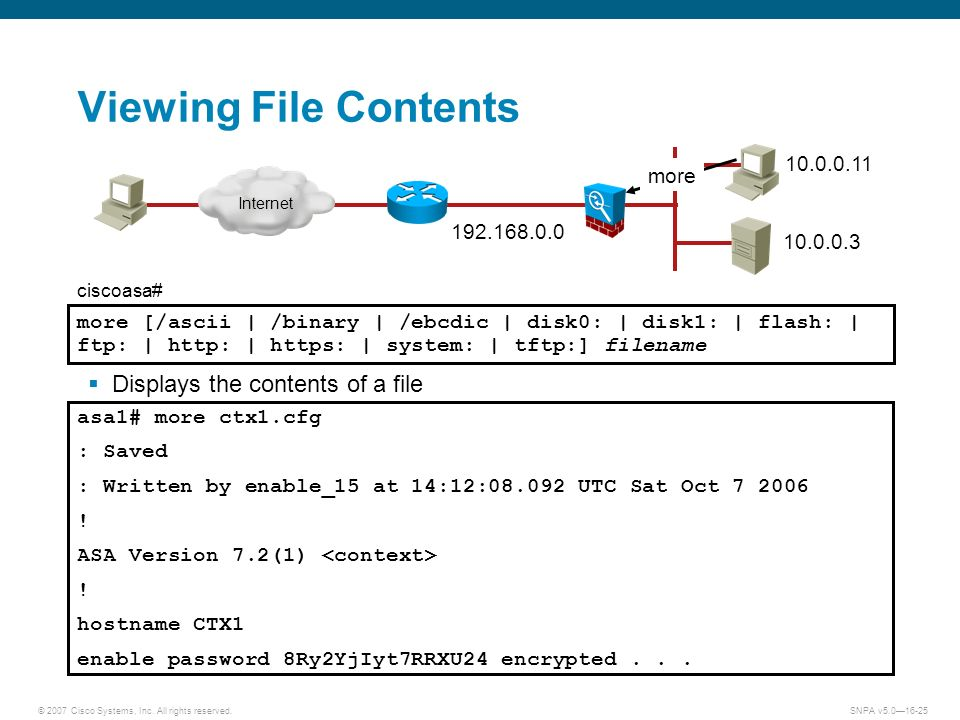 © 2007 Cisco Systems, Inc. All rights reserved.SNPA v5.016-25 Viewing File Contents Displays the contents of a file more [/ascii | /binary | /ebcdic |