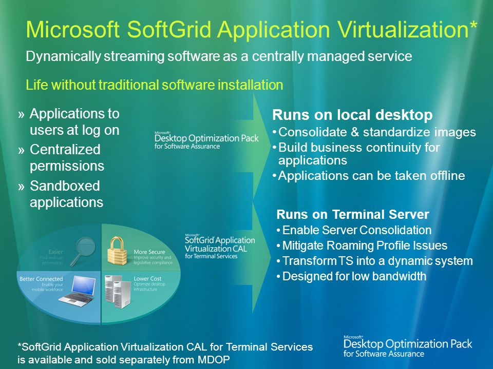 Microsoft SoftGrid Application Virtualization* Dynamically streaming software as a centrally managed service Life without traditional software installation Applications to users at log on Centralized permissions Sandboxed applications Runs on Terminal Server Enable Server Consolidation Mitigate Roaming Profile Issues Transform TS into a dynamic system Designed for low bandwidth *SoftGrid Application Virtualization CAL for Terminal Services is available and sold separately from MDOP Runs on local desktop Consolidate & standardize images Build business continuity for applications Applications can be taken offline