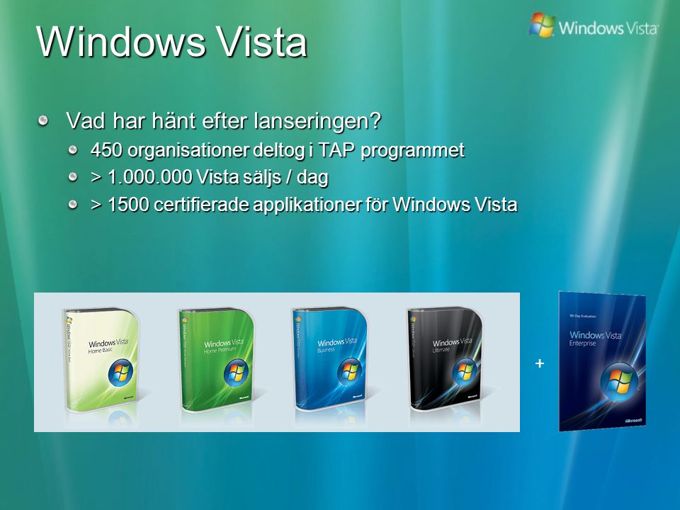 Windows Vista – Solutions 750.000 Laptops stolen 2006 Multi-layered Security, BitLocker, UAC, USB blocking Management of new mobile workforce Singel Image, Mobility Center (settings), Synch Center(Data) and BitLocker IDC Report shows that orgs can save up to 82% on IT costs by optimize infrastructure UAC, Group Policy, Singel Image and security features Seaching for lost information can cost up to $14 per user per year according to IDC Desktop search, Aero Interface IT labor cost for supporting PCs range from $1320 (basic) to $230 (rationalized) Vista enables practices that are proven to increase the level of IO and provide savings Deployment is TOO difficult.