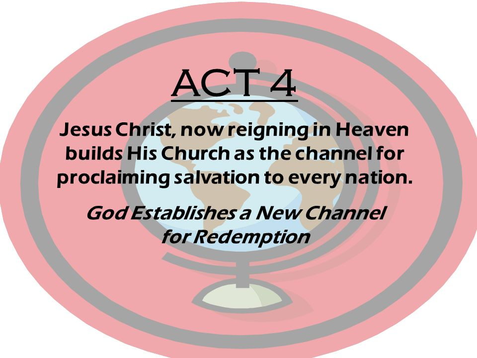 ACT 4 Jesus Christ, now reigning in Heaven builds His Church as the channel for proclaiming salvation to every nation. God Establishes a New Channel f