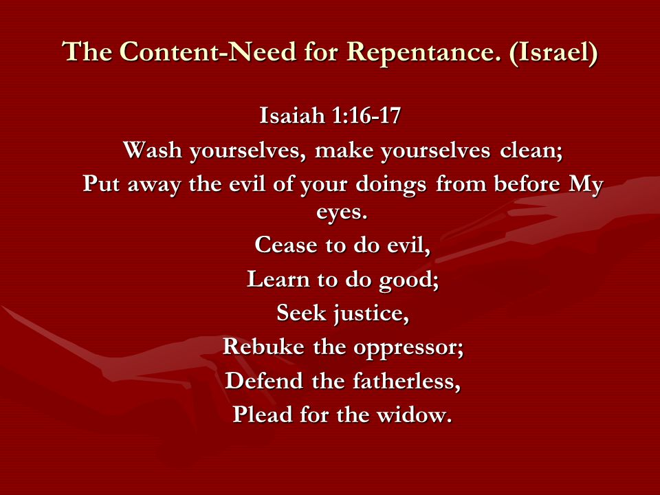 The Content-Need for Repentance.