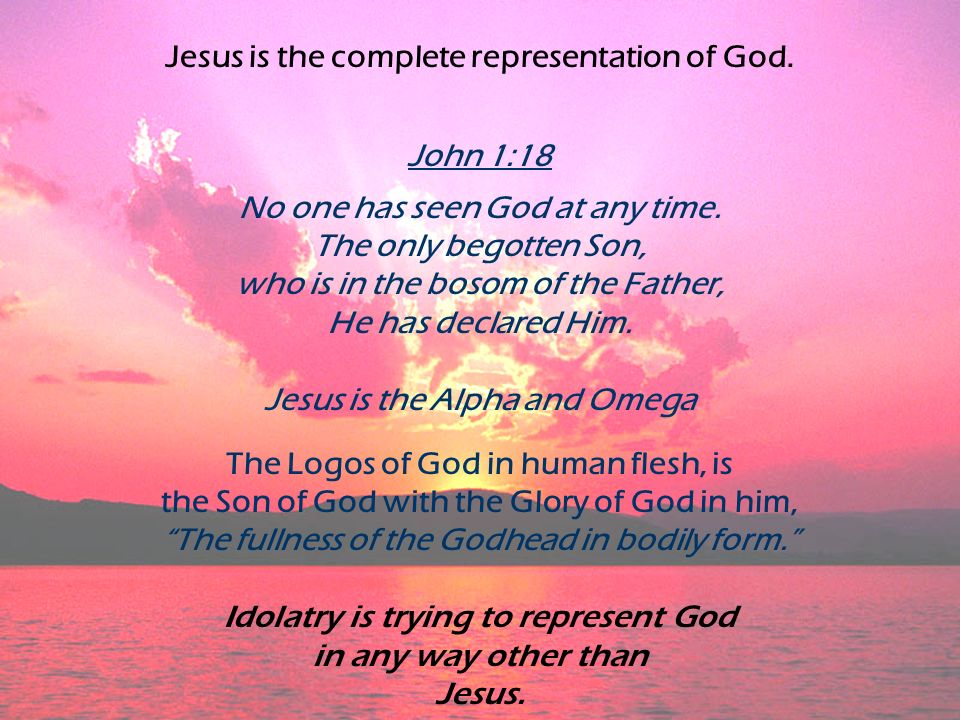 Jesus is the complete representation of God. John 1:18 No one has seen God at any time.
