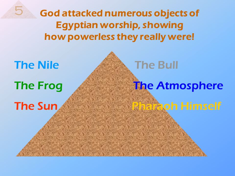 God attacked numerous objects of Egyptian worship, showing how powerless they really were! The Nile The Bull The Frog The Atmosphere The SunPharaoh Hi