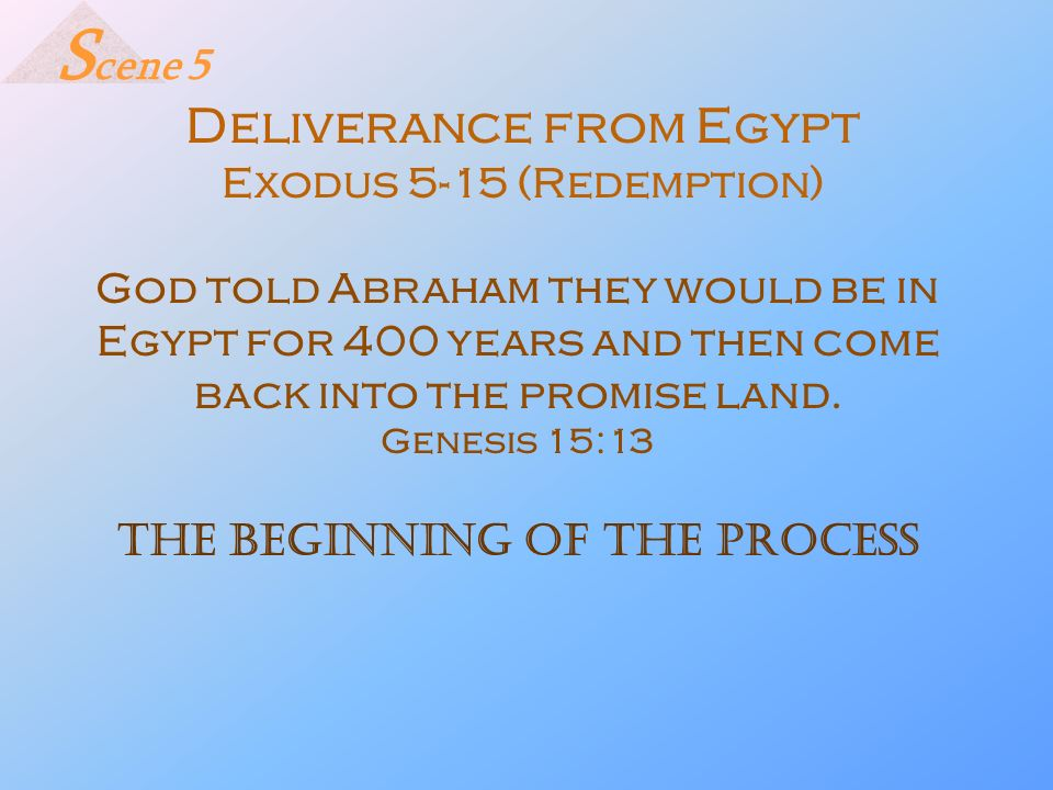 Deliverance from Egypt Exodus 5-15 (Redemption) God told Abraham they would be in Egypt for 400 years and then come back into the promise land. Genesi