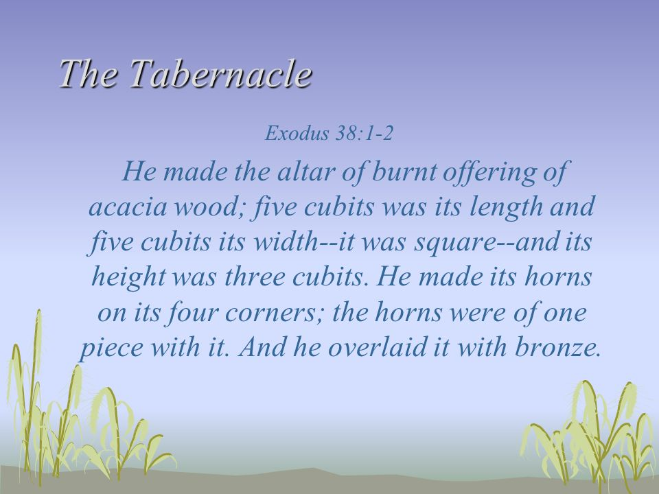 The Tabernacle Exodus 38:1-2 He made the altar of burnt offering of acacia wood; five cubits was its length and five cubits its width--it was square--