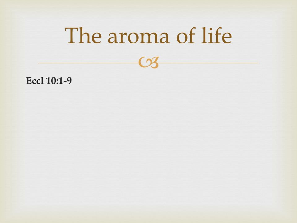 Eccl 10:1-9 The aroma of life