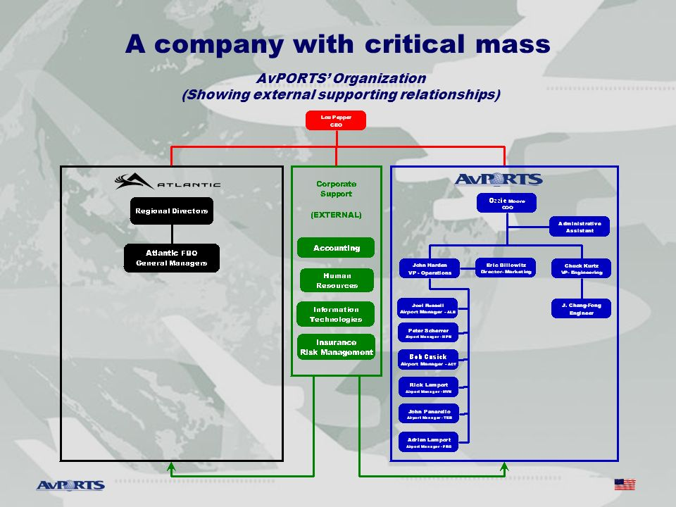 A company with critical mass AvPORTS Organization (Showing external supporting relationships)