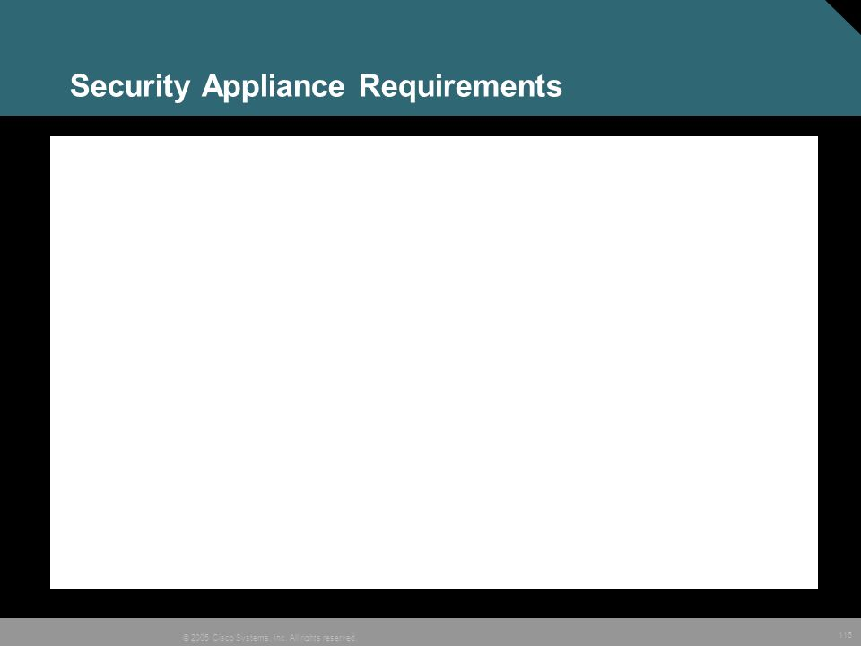 116 © 2005 Cisco Systems, Inc. All rights reserved. Security Appliance Requirements