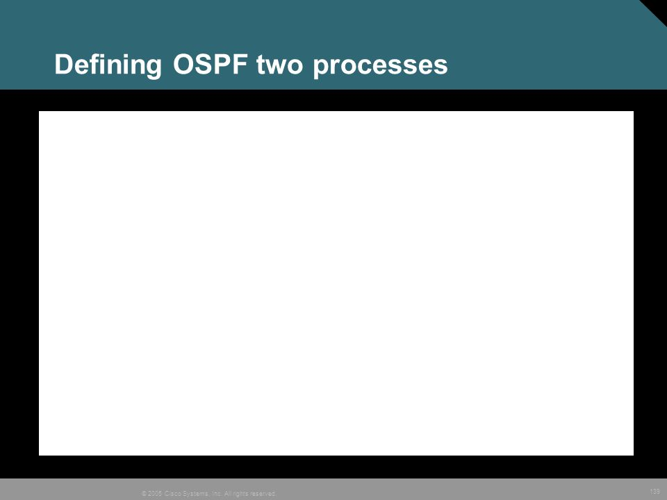 139 © 2005 Cisco Systems, Inc. All rights reserved. Defining OSPF two processes