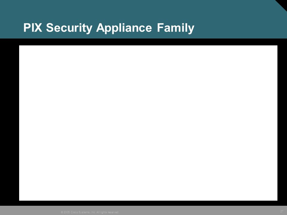 27 © 2005 Cisco Systems, Inc. All rights reserved. PIX Security Appliance Family
