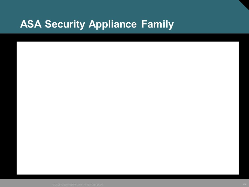 28 © 2005 Cisco Systems, Inc. All rights reserved. ASA Security Appliance Family