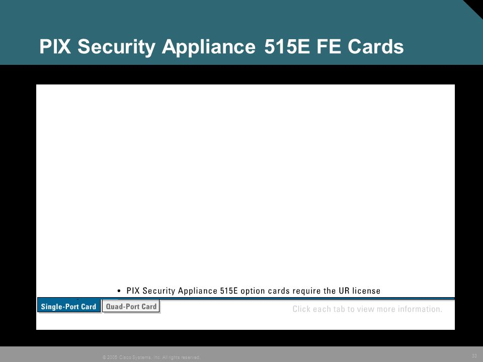 33 © 2005 Cisco Systems, Inc. All rights reserved. PIX Security Appliance 515E FE Cards