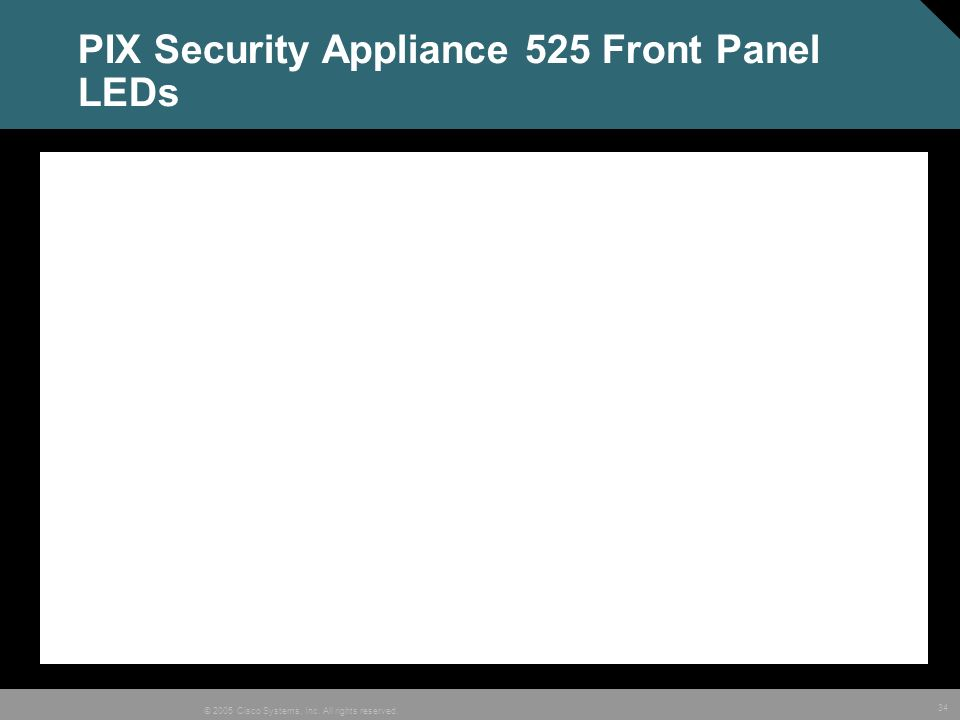 34 © 2005 Cisco Systems, Inc. All rights reserved. PIX Security Appliance 525 Front Panel LEDs