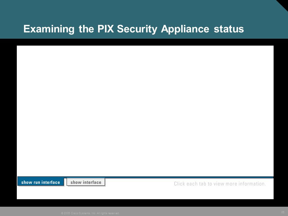 65 © 2005 Cisco Systems, Inc. All rights reserved. Examining the PIX Security Appliance status