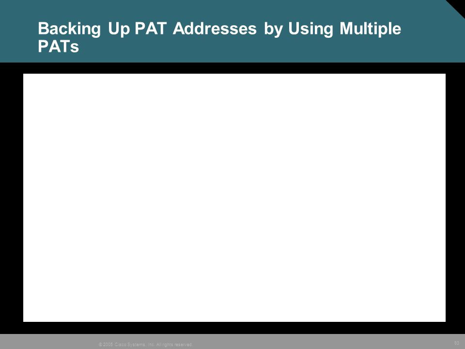 93 © 2005 Cisco Systems, Inc. All rights reserved. Backing Up PAT Addresses by Using Multiple PATs