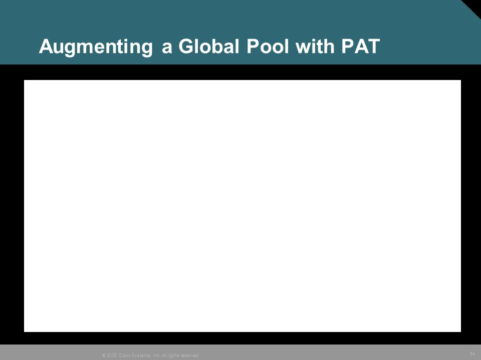 94 © 2005 Cisco Systems, Inc. All rights reserved. Augmenting a Global Pool with PAT