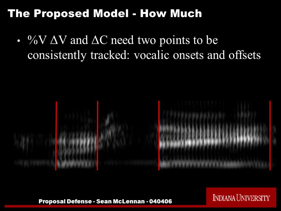 Proposal Defense - Sean McLennan - 040406 The Proposed Model - How Much %V ΔV and ΔC need two points to be consistently tracked: vocalic onsets and of