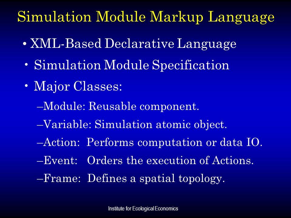 Institute for Ecological Economics Simulation Module Markup Language XML-Based Declarative Language Simulation Module Specification Major Classes: –Mo