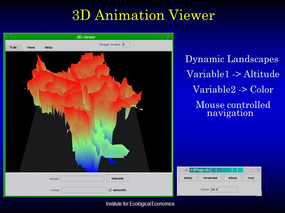 Institute for Ecological Economics 3D Animation Viewer Dynamic Landscapes Variable1 -> Altitude Variable2 -> Color Mouse controlled navigation