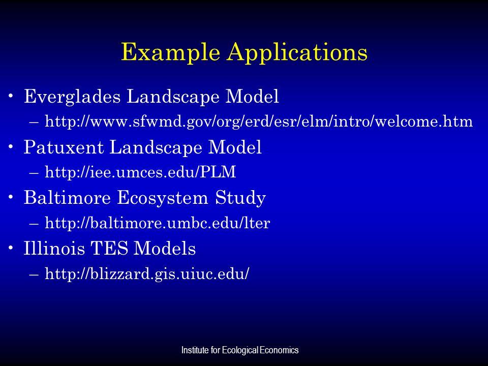 Institute for Ecological Economics Example Applications Everglades Landscape Model –http://www.sfwmd.gov/org/erd/esr/elm/intro/welcome.htm Patuxent La