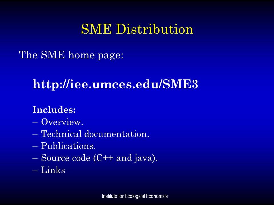 Institute for Ecological Economics SME Distribution The SME home page: http://iee.umces.edu/SME3 Includes: –Overview. –Technical documentation. –Publi