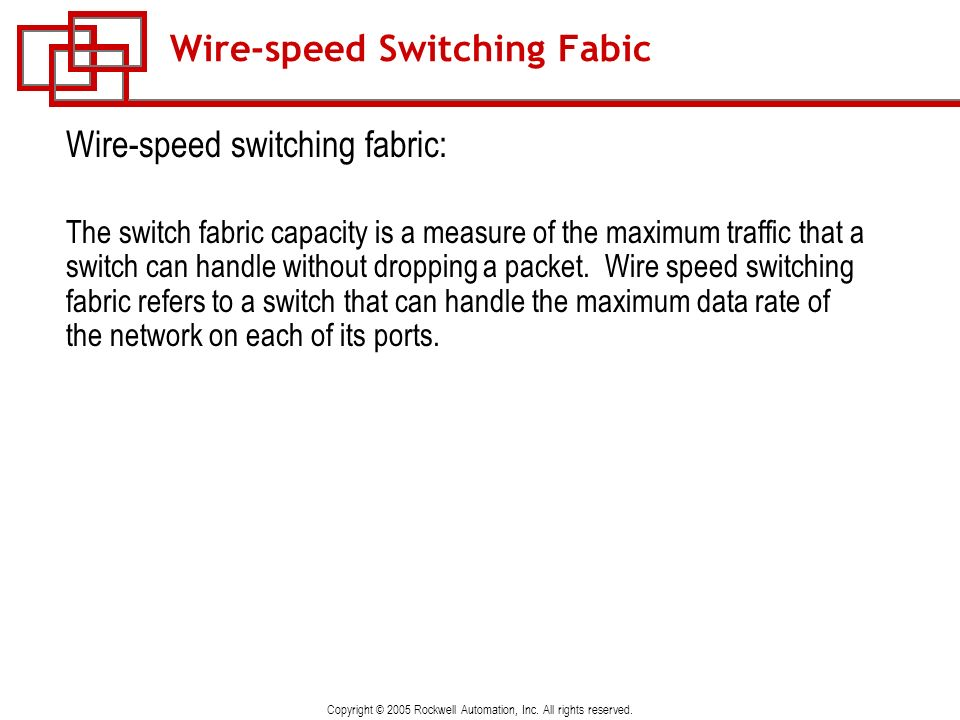 Copyright © 2005 Rockwell Automation, Inc. All rights reserved. Wire-speed Switching Fabic Wire-speed switching fabric: The switch fabric capacity is