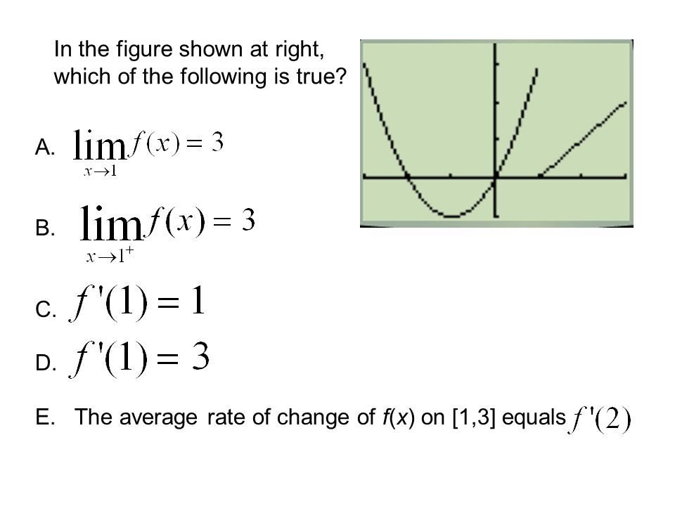In the figure shown at right, which of the following is true? The average rate of change of f(x) on [1,3] equals A. B. C. D. E.
