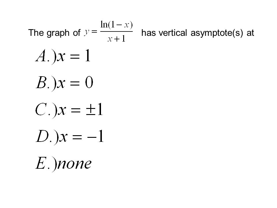 The graph ofhas vertical asymptote(s) at