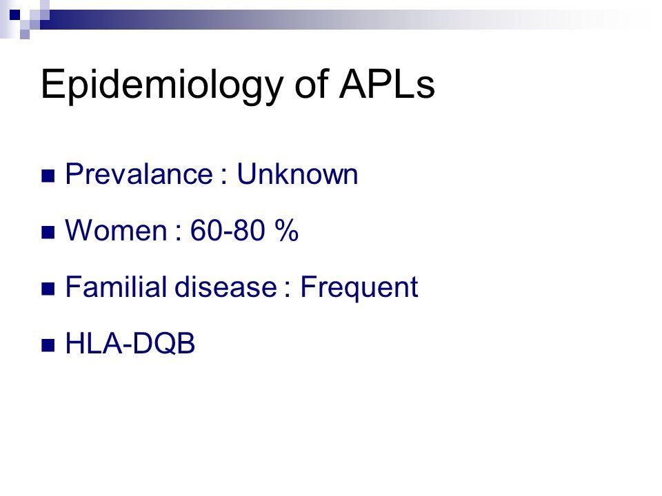 Epidemiology of APLs Prevalance : Unknown Women : 60-80 % Familial disease : Frequent HLA-DQB