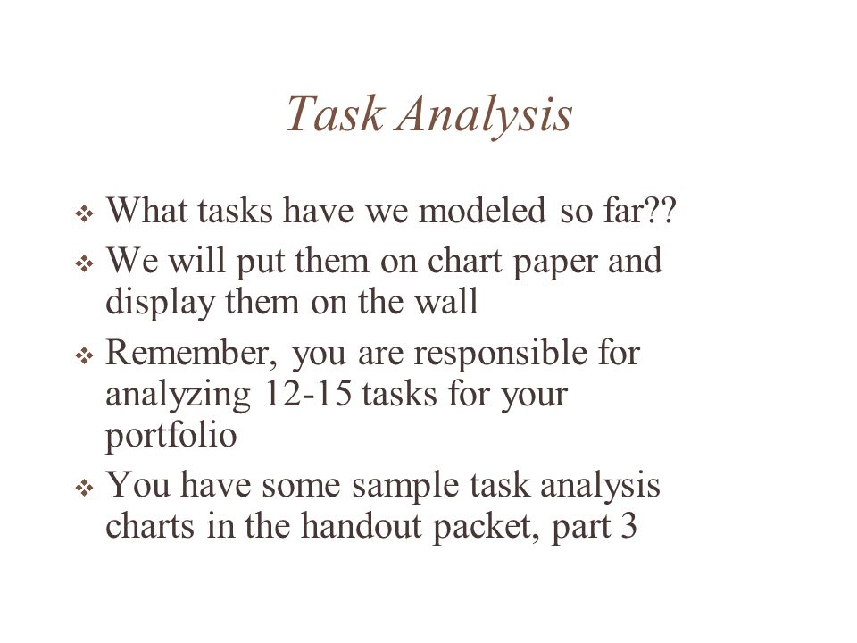 Task Analysis The table can easily be recreated using the tables feature of Microsoft Word Task How does it support students building of their understanding (approx 3 ideas per task) Other Advantages (affective domain - 3 items) Things to Watch for.