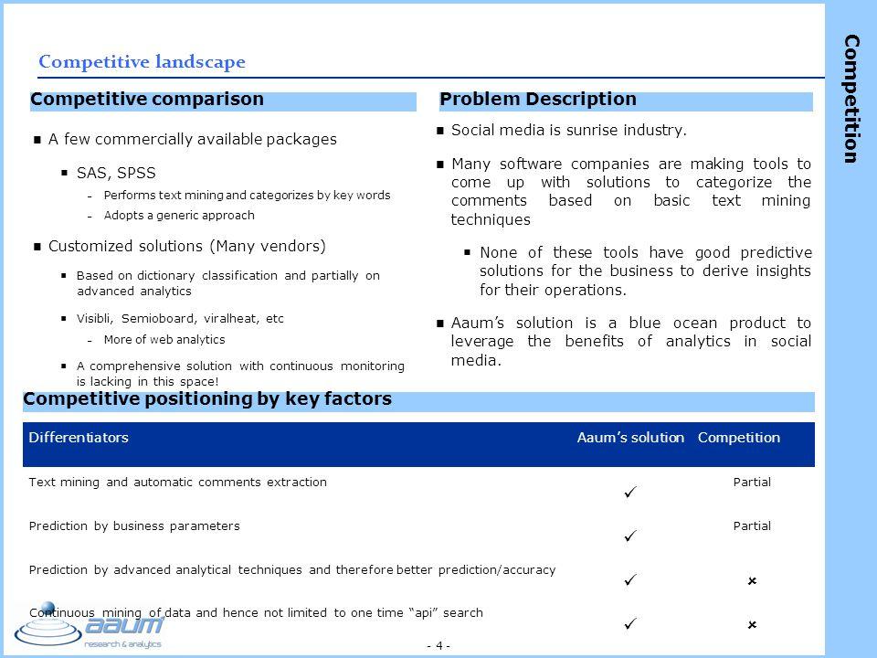 - 4 - Problem DescriptionCompetitive comparison Competitive positioning by key factors Social media is sunrise industry.