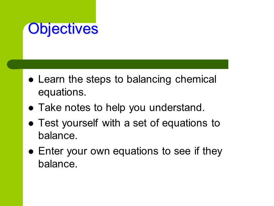 Double-check: 4NH3 + 5O2 4NO + 6H2O 4 N (nitrogen atoms) 4 N (nitrogen atoms) 12 H (hydrogen atoms) 12 H (hydrogen atoms) 10 O (oxygen atoms) 10 O (oxygen atoms) The equation is Balanced