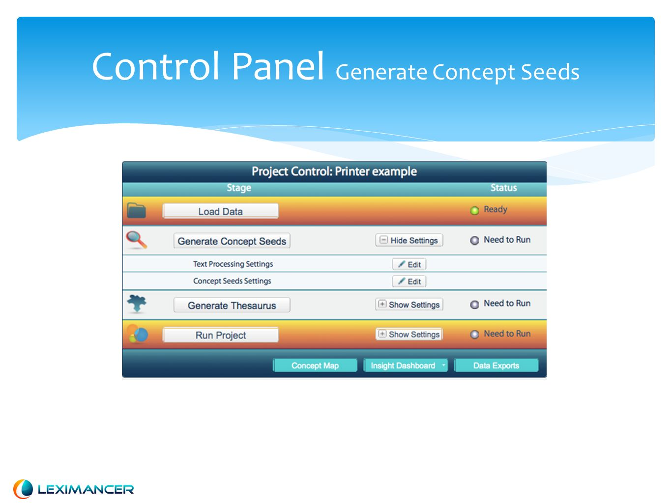 Control Panel Run Project