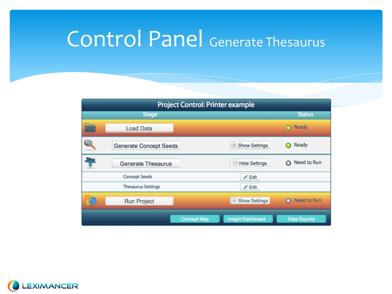 Control Panel Generate Thesaurus