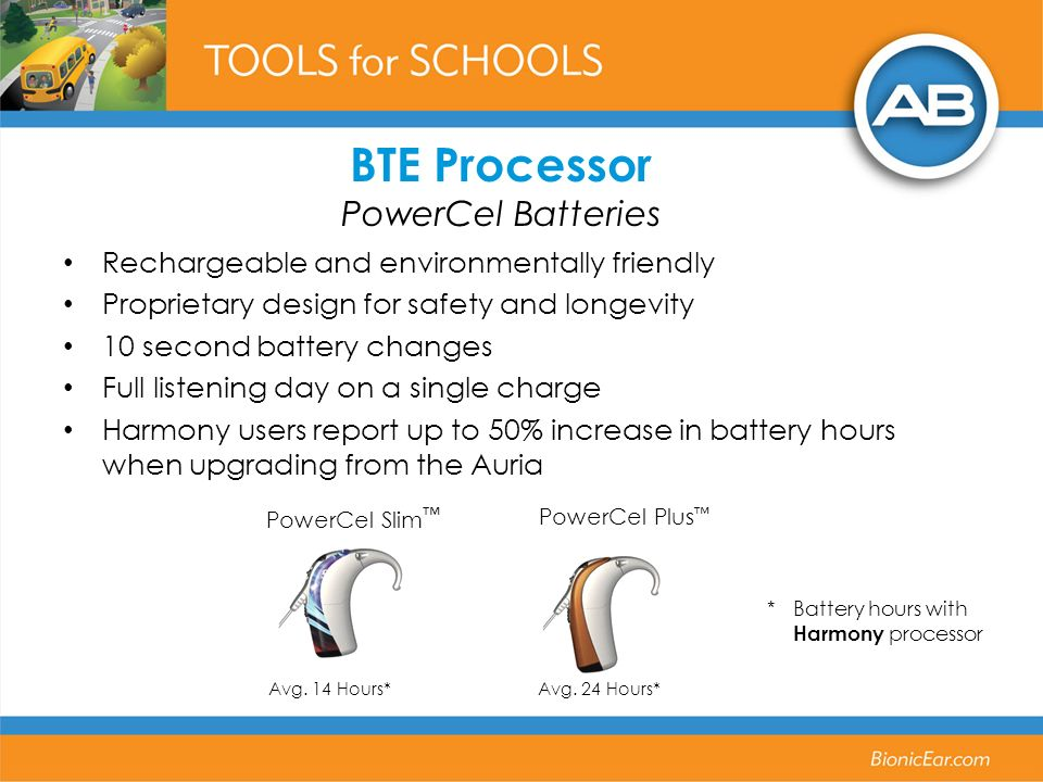 Avg. 24 Hours*Avg. 14 Hours* PowerCel Slim PowerCel Plus BTE Processor PowerCel Batteries Rechargeable and environmentally friendly Proprietary design