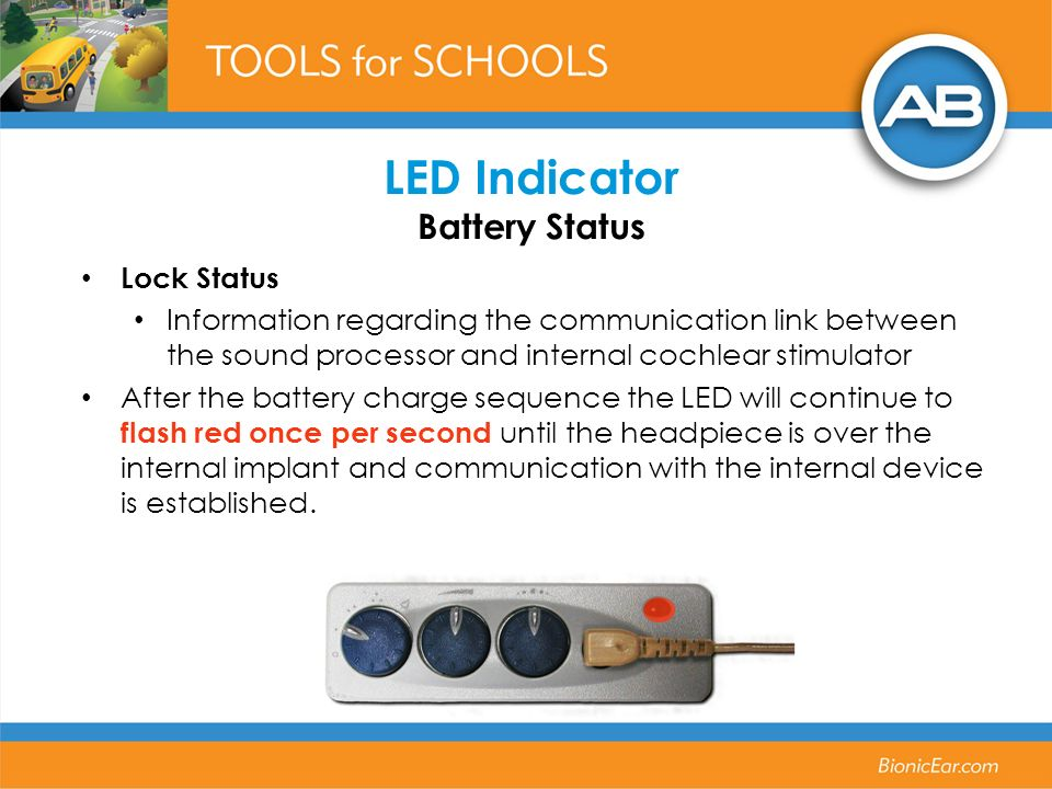 Lock Status Information regarding the communication link between the sound processor and internal cochlear stimulator After the battery charge sequenc