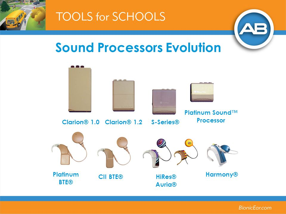 Sound Processors Evolution Harmony® Clarion® 1.0Clarion® 1.2S-Series® Platinum Sound Processor Platinum BTE® CII BTE® HiRes® Auria®