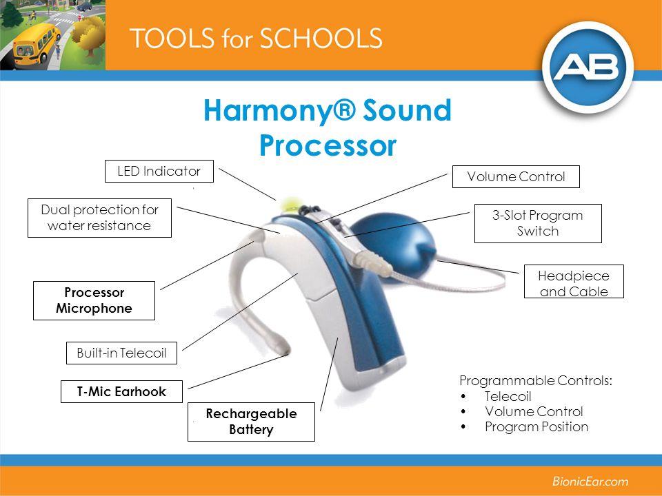 Harmony® Sound Processor Programmable Controls: Telecoil Volume Control Program Position Headpiece and Cable 3-Slot Program Switch Volume Control LED