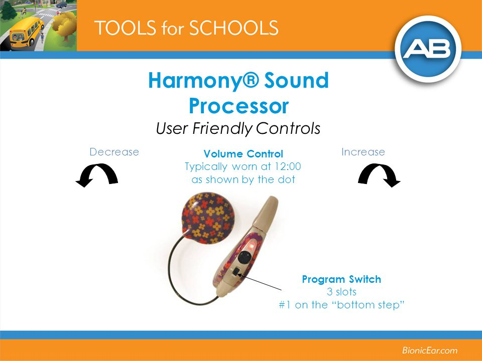 Volume Control Typically worn at 12:00 as shown by the dot DecreaseIncrease Program Switch 3 slots #1 on the bottom step Harmony® Sound Processor User
