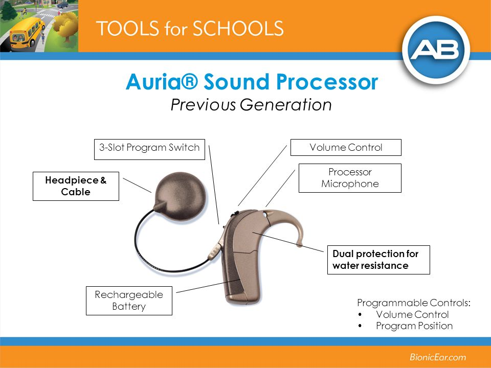Auria® Sound Processor Previous Generation Programmable Controls: Volume Control Program Position Dual protection for water resistance Processor Micro